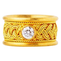 24 Karat Gold Handcrafted Wide Weave Mesh Band Diamond Solitaire Ring
