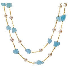 Aquamarine Pearl and 22 Karat Gold Necklace