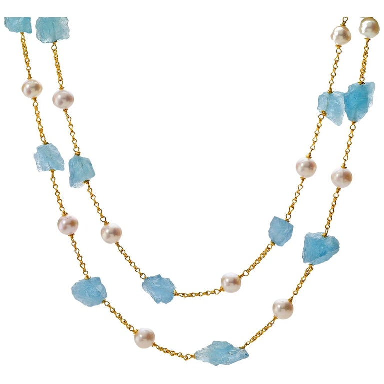 Aquamarine Pearl yellow gold   22 Karat Gold Necklace