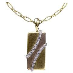 Multi-Tone Tricolor Gold Round Diamond Geometric Pendant Necklace