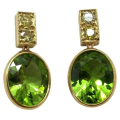 6.03 Carat Peridots with 0.40 Carat Diamond 18 Karat Yellow Gold Earrings