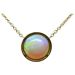 14.49 Carat Ethiopian Opal Pendant with 18 Karat Yellow Gold Chain Necklace