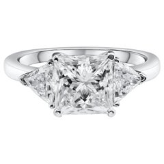 GIA Certified Princess Cut Diamond Three-Stone Engagement Ring