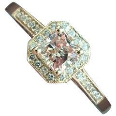 1.12 Carat TW Princess H SI1 Diamond Halo Engagement Ring 14 Karat Ben Dannie