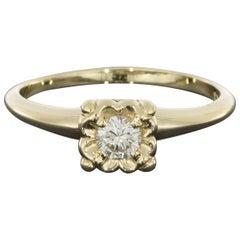 14 Karat Yellow Gold 0.25 Carat Round Diamond Solitaire Engagement Ring