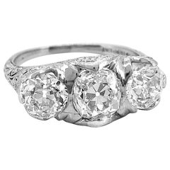 3-Stone 3.20 Carat Total Weight Diamond Edwardian Engagement Ring Platinum