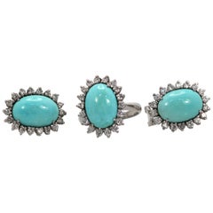 Persian Turquoise Ring Plus Earrings Set Surrounded by Diamonds
