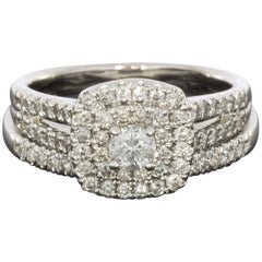 White Gold Round Diamond Double Halo Engagement Ring Wedding Set