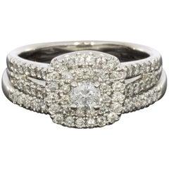 White Gold Round Diamond Double Halo Engagement Ring Wedding Set