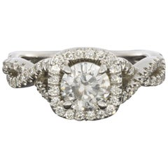 Gabriel & Co. White Gold Round Diamond Halo Twist Engagement Ring