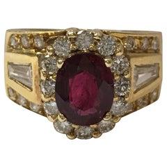 Ruby and Diamond Ring Set in 18 Karat Yellow Gold