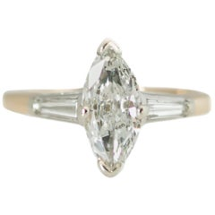 1950s 1 Carat Total Marquise Diamond Engagement Ring in 14 Karat Two-Tone Gold