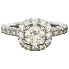 18 Karat White Gold 2.05 Carat Round Diamond Cushion Halo Engagement Ring