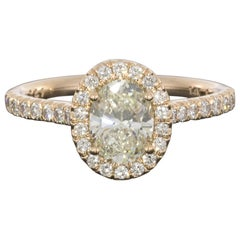 Martin Flyer Rose Gold 1.45 Carat Oval Diamond Halo Engagement Ring