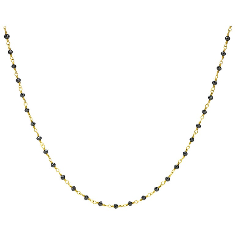 Black Diamond Beads in yellow gold 20 Karat gold Necklace