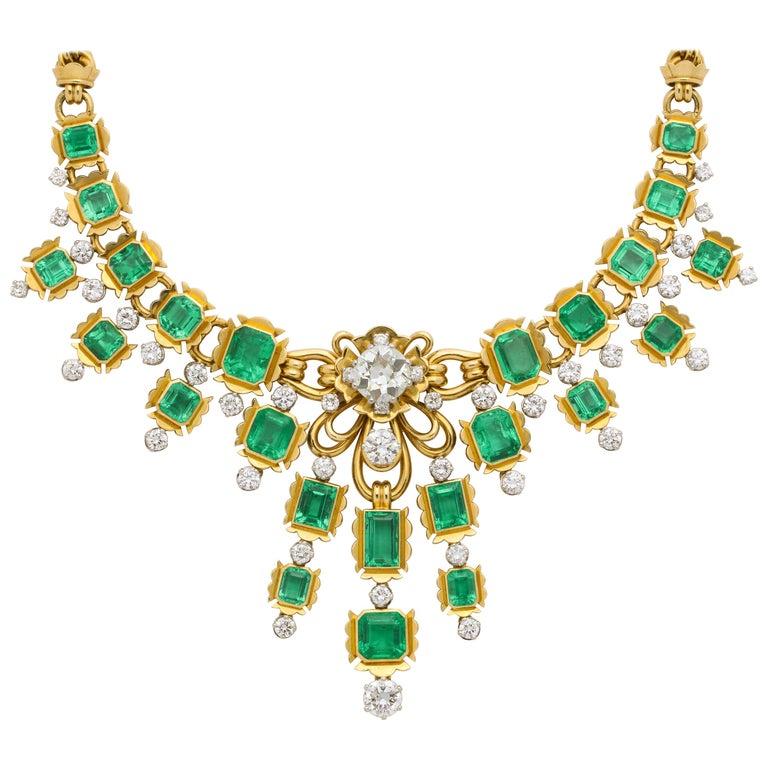 Emerald and Diamond Bib Necklace