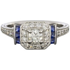 Gabriel & Co White Gold Diamond and Sapphire Deco Halo Engagement Ring