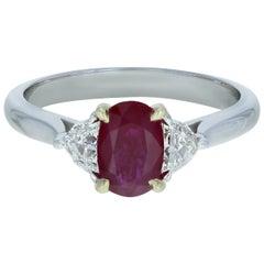 Three-Stone Oval Burma Ruby Diamond Ring 1.36 Carat 18 Karat White Gold