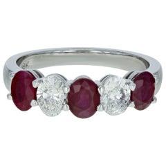 Five Stone Diamond Ruby Anniversary Eternity Ring 2.20 Carat 18 Karat White