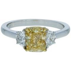 Three-Stone Fancy Yellow Diamond Engagement Ring 1.95 Carat
