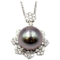 1.08 Carat Diamond and Pearl 18 Karat White Gold Pearl Pendant Necklace