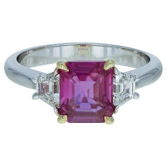 Pink Sapphire 2.61 Carat and Diamond Three-Stone Ring 18 Karat White Gold