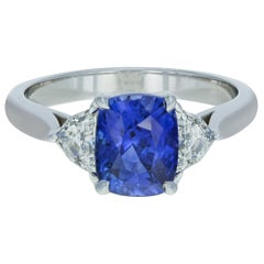 Sri Lanka Blue Sapphire and Diamond Ring 3.34 Carat 18 Karat White Gold GIA