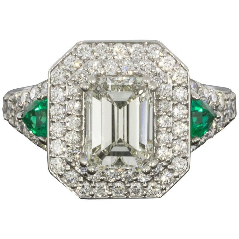 Platinum 3.04 Carat Emerald Diamond and Emerald Double Halo Engagement Ring
