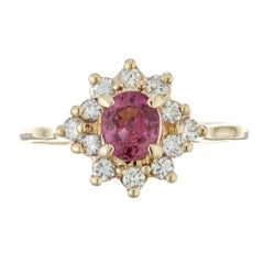 .55 Carat Pink Oval Sapphire Diamond Halo Gold Engagement Ring