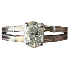 0.85 Carat Oval Diamond Baguette Engagement Ring 14 Karat, Ben Dannie