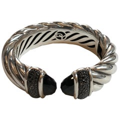 David Yurman Waverly Cuff 1.19 Carat Black Diamonds and Black Onyx