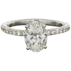 A. Jaffe GIA Certified Platinum 1.83 Carat Oval Diamond Engagement Ring