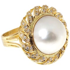 .85 Carat Pearl Diamond Gold Swirl Cocktail Ring