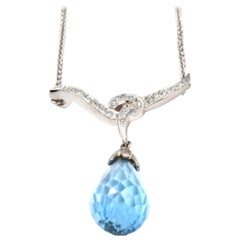 Blue Topaz and Diamond 14 Karat White Gold Necklace