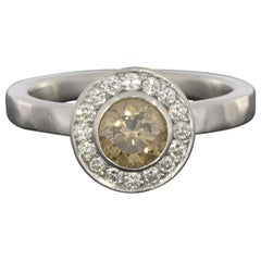 White Gold Champagne Round Diamond Halo Engagement Ring with Satin Hammer Finish