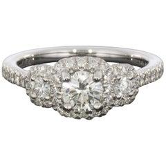 Gabriel & Co. White Gold Round Diamond Three-Stone Halo Engagement Ring