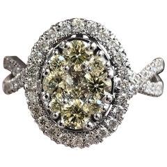 1.10 Carat TW Yellow and White Diamond Ring 14 Karat
