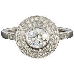 Sebastien Barier Art Deco Platinum Round Diamond Double Halo Engagement Ring