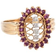 Ruby Diamond Lattice Cocktail Ring Vintage 10 Karat Gold Estate Fine Jewelry