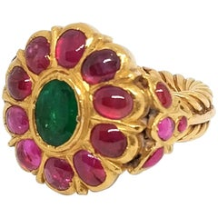 Antique Royal 5.5 carat Ruby and 3 carat Emerald Ring in 23 Carat Gold