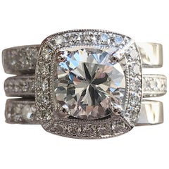 Round Cushion Halo Diamond Ring and Matching Bands 14k W, Ben Dannie