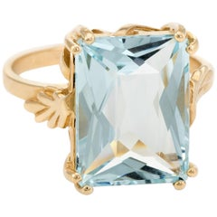 13ct Aquamarine Cocktail Ring Vintage 14k Yellow Gold Estate Fine Jewelry 10.75