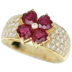 Van Cleef & Arpels Ruby Diamond 18 Karat Yellow Gold Antoinette Ring