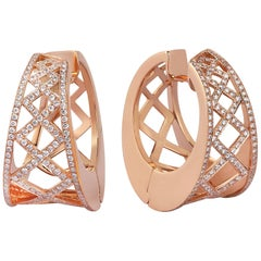 18 Karat Rose Gold 1.27 Carat Diamond Hoop Earrings