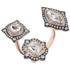 18 Karat Rose Gold Monan 1.58 Carat Diamond Cocktail Ring
