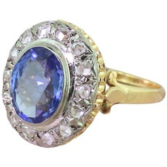 Art Deco 2.70 Carat Natural Ceylon Sapphire and Rose Cut Diamond Ring