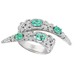 18 Karat White Gold Monan Paraiba Tourmalines and 0.71 Carat of Diamonds Ring