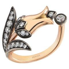 18 Karat Yellow Gold Monan Tulip Ring Set with 0.70 Carat of Diamonds