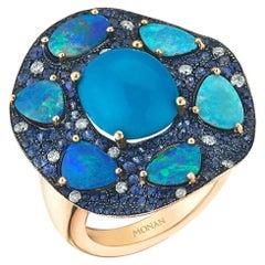 18 Karat Yellow Gold Monan Turquoise Opals 1.48 Carat Sapphires Cocktail Ring