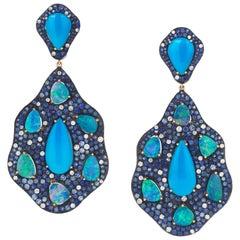 Monan 12.48 Carat Turquoise, 8.86 Carat Opal and Sapphire Diamond Earrings